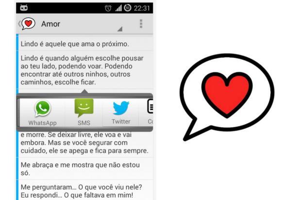Aplicativo reúne frases românticas para enviar via Whatsapp e SMS Reprodução/Google Play