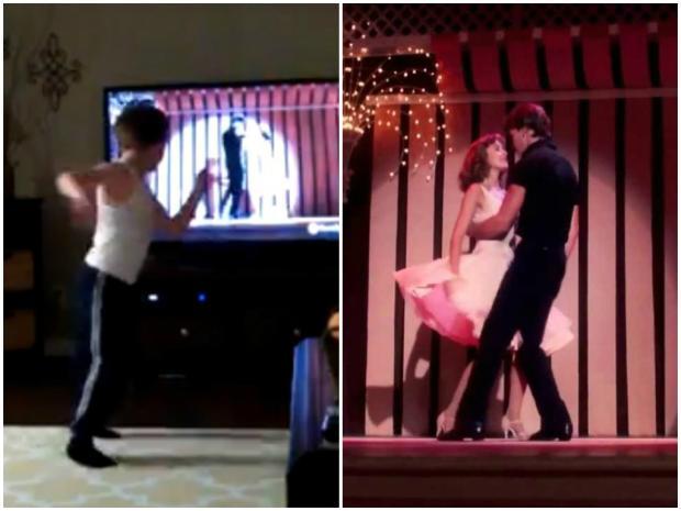 Menino faz sucesso em rede social ao reproduzir dança de ''Dirty Dancing'' Reprodução Facebook/Montagem Kzuka