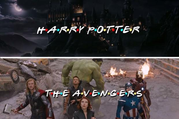 Montagem inclui personagens de Harry Potter e Vingadores em abertura de 'Friends' Reprodução/